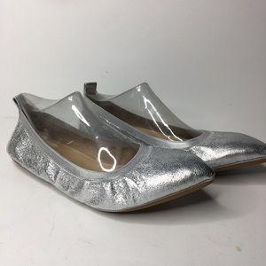 Yosi Samra Vienna silver foldable leather flats
